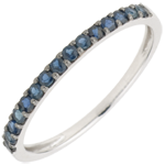 gift Ring Bird of Paradise - one line - white gold and blue sapphire