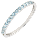 gift women Ring Bird of Paradise - one line - white gold and blue topaz