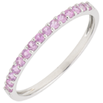 gift Ring Bird of Paradise - one line - white gold and pink sapphire