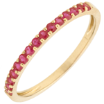 gold jewelry Ring Bird of Paradise - one line - yellow gold and ruby