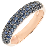 Ring Bird of Paradise - three lines - rose gold and blue sapphire