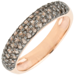 buy Ring Bird of Paradise - three lines - rose gold and smoky quartz