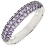 women Ring Bird of Paradise - three lines - white gold and amethyst