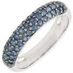 gift women Ring Bird of Paradise - three lines - white gold and blue sapphire
