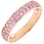 gift women Ring Bird of Paradise - two lines - rose gold and pink sapphire
