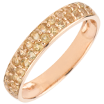 Ring Bird of Paradise - two lines - rose gold and yellow citrine