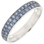 gift women Ring Bird of Paradise - two lines - white gold and blue sapphire