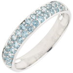 Ring Bird of Paradise - two lines - white gold and blue topaz
