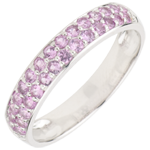 wedding Ring Bird of Paradise - two lines - white gold and pink sapphire