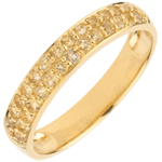 Ring Bird of Paradise - two lines - yellow gold and yellow citrine