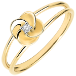 kaufen Ring Blüte - Erste Rose - Gelbgold und Diamant - 18 Karat
