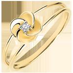 Goldschmuck Ring Blüte - Erste Rose - Gelbgold und Diamant - 9 Karat