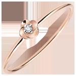 Geschenk Ring Blüte - Erste Rose - Kleines Modell - Roségold und Diamant - 9 Karat