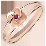 Geschenke Frau Ring Blüte - Erste Rose - Roségold und Rubin - 18 Karat