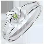 Geschenk Frau Ring Blüte - Erste Rose - Weißgold Peridot - 9 Karat