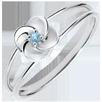 Geschenk Ring Blüte - Erste Rose - Weißgold und blauer Topaz - 18 Karat