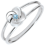 Online Verkauf Ring Blüte - Erste Rose - Weißgold und blauer Topaz - 9 Karat