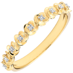 Goldschmuck Ring Blüte - Rosenkränzchen - Kleines Modell - Gelbgold und Diamanten - 9 Karat