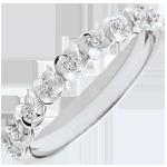 Geschenk Frauen Ring Blüte - Rosenkränzchen - Kleines Modell - Weißgold und Diamanten - 9 Karat
