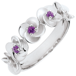 Geschenk Frauen Ring Blüte - Rosenkränzchen - Weißgold und Amethysten - 9 Karat