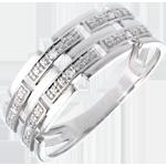 Ring Canvas Wit Goud betegeld - 6 Diamanten