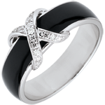 Ring Clair Obscure - black lacquer Cross and diamonds