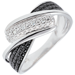 gift women Ring Clair Obscure - Motion - black and white diamonds - 18 carat