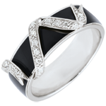 gift women Ring Clair Obscure - Ribbon Stars - black lacquer and diamonds