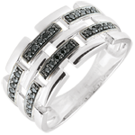 wedding Ring Clair Obscure - Secret Path - white gold, black diamond - large model 9 carat