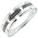 gift Ring Clair Obscure - Secret Path - white gold, black diamond - small model 9 carat