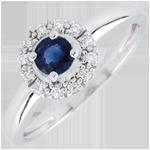 Ring clevia - Saffier - 9 karaat witgoud