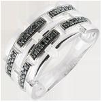 Juweliere Ring Dämmerschein - Geheimer Weg - Weißgold, schwarzer Diamant - Großes Modell 9 Karat