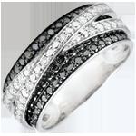 Geschenke Frauen Ring Dämmerschein - Schwebender Schatten - Weißgold und schwarze Diamanten