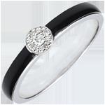 Geschenk Ring Dämmerschein Solitär - Schwarzer Lack und Diamanten 0.04 kt - 18 Karat