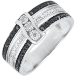 Juwelier Ring Dämmerschein - Sonnenuntergang - Weißgold, weiße und schwarze Diamanten - 18 Karat