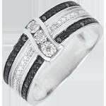 Goldschmuck Ring Dämmerschein - Sonnenuntergang - Weißgold, weiße und schwarze Diamanten - 9 Karat