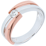 Ring das Kostbarer Kokon - Diamantsolitär Ringe - Rosé- und Weißgold - Diamant 0. 18 Karat - 18 Karat
