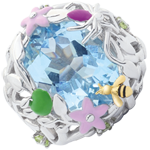 Ring Denkbeeldige Balade - blauwe Paradijs - zilver Diamanten en edelstenen