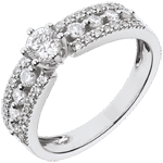 gold jewelry Ring Destiny Solitaire - Tsarina - white gold - 0.28 carat diamond