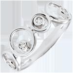 Geschenk Ring Diamanten und Weissgold Luna - 4 Diamanten - 18 karat
