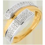 Frau Ring double-hemisphäre in Weiss- und Gelbgold