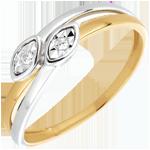 Ring dubbele slangen 18 karaat 2 goudsoorten en Diamanten