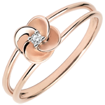 weddings Ring Eclosion - First Rose - pink gold and diamond - 18 carats