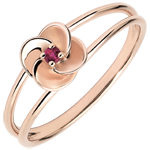 gift Ring Eclosion - First Rose - pink gold and ruby - 9 carats