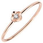 present Ring Eclosion - First Rose - small model - pink gold and diamond - 9 carats