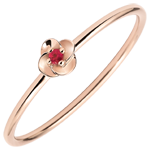 gift woman Ring Eclosion - First Rose - small model - pink gold and ruby - 9 carats