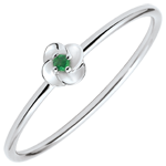 gift Ring Eclosion - First Rose - small model - white gold and emeralds - 9 carats