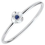gift Ring Eclosion - First Rose - small model - white gold and sapphire - 9 carats