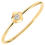 present Ring Eclosion - First Rose - small model - yellow gold and diamond - 18 carats
