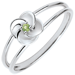 Ring Eclosion - First Rose - white gold and peridot - 9 carats